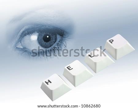 Woman's eye overseeing computer keys spelling help - stock photo