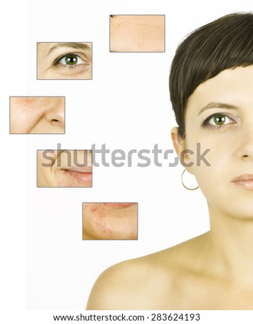 Woman's face, beauty concept - skin care, anti-aging procedures, rejuvenation, lifting, tightening of facial skin - stock photo