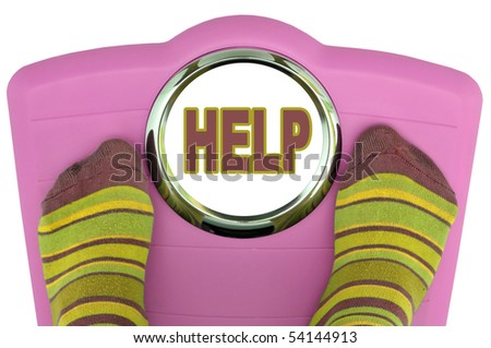 Woman's feet in a scale with the word help isolated in white - stock photo