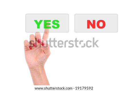 Woman's Finger pressing the Yes key - Isolated over white background - stock photo