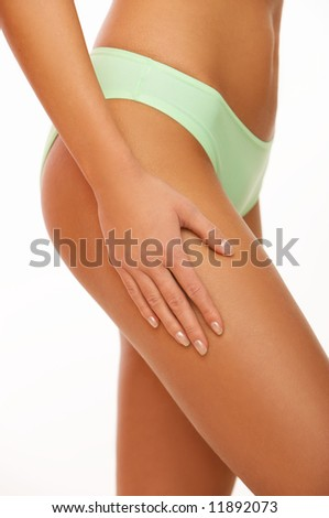 Woman's Fingers Touching her body parts - stock photo