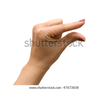 Woman's hand gesturing a small amount isolated on white - stock photo