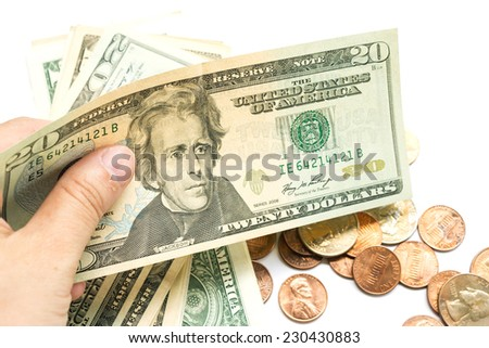 Woman's hand hold dollar bill on white background. - stock photo