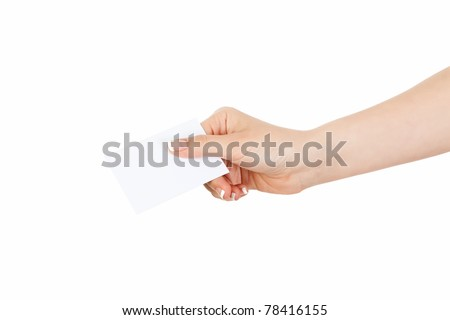woman's hand holding a business card - stock photo