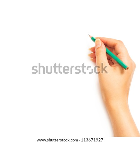 Woman's hand holding a pencil on a white white background - stock photo