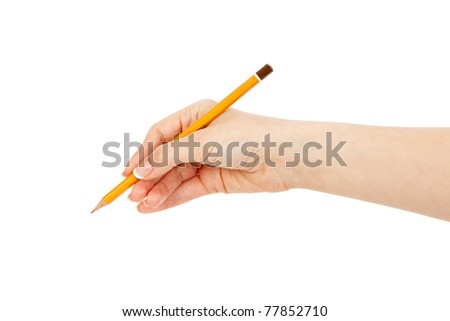 woman's hand holding a yellow pencil - stock photo