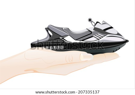 Woman's hand holding object- boat(scooter) isolated on white background. - stock photo