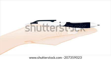 Woman's hand holding object-Realistic ballpoint pen - stock photo