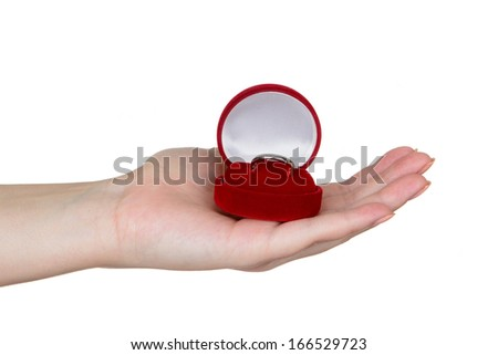 Woman's hand holding red jewelry box isolated on white - stock photo