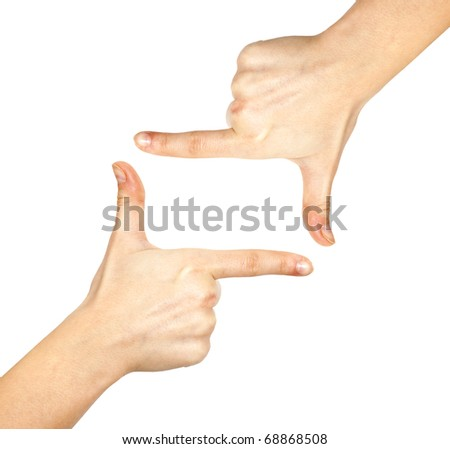 Woman's hand on white background - stock photo