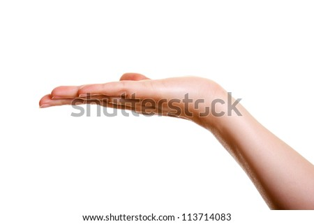 Woman's hand, palm up isolated on white background - stock photo