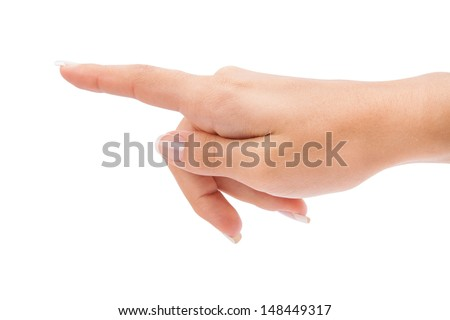 Woman's hand press button on white background - stock photo