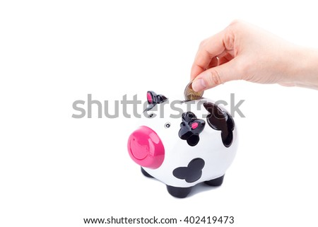 Woman's hand putting a coin in piggy bank - stock photo