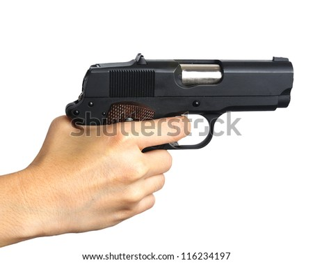 Woman's hand with a gun. Isolated on white. - stock photo