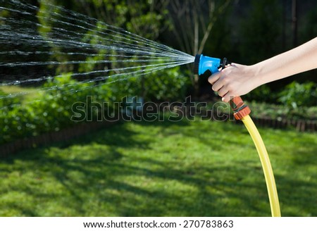 Woman's hand with hose sprinkle watering plants in the garden  - stock photo