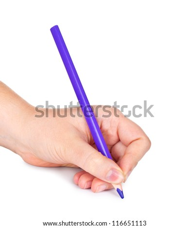Woman's hand with pencil, isolated - stock photo