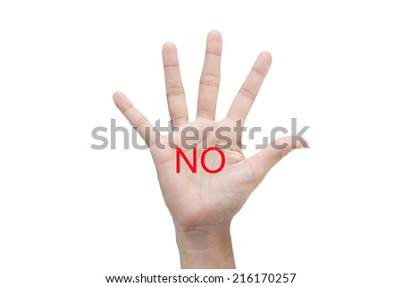 Woman's hand with the word NO. - stock photo