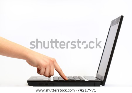 woman's hand working on computer - stock photo