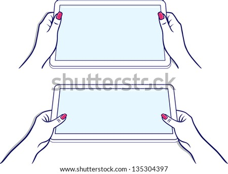 Woman's hands keeps tablet device isolated on white background - stock photo