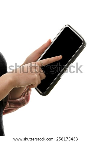 Woman's hands touching a tablet. Blank screen. - stock photo