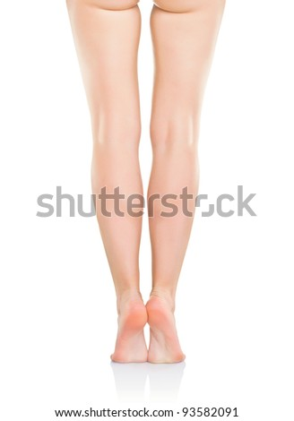 Woman's legs, isolated on white background - stock photo