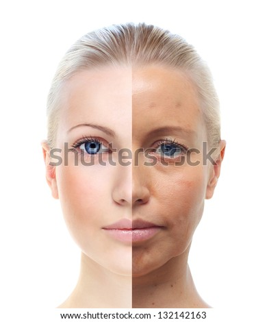 Woman's portrait isolated on white, 20 and 40 years old. - stock photo