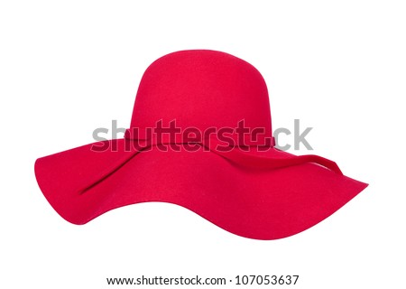 Summer Hat Clip Art Woman`s summer red straw hat