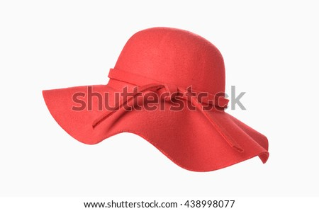 Woman`s summer red straw hat isolated on white background - stock photo