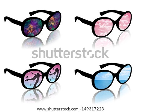 woman's sun glasses with a reflection of a typical female dreams of love, travel, holidays, happiness - stock photo