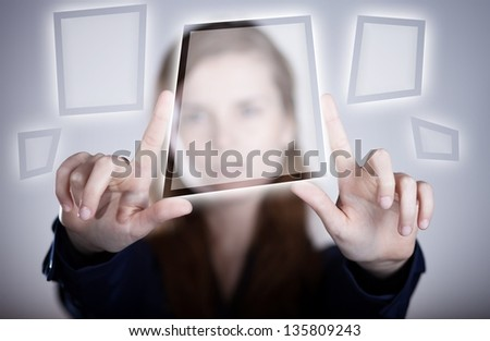 Woman's two hands pointing button on touch screen - stock photo
