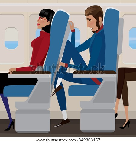 Woman sat back in a reclining seat and man behind the closely - discomfort and saving money concept. Raster version of illustration - stock photo