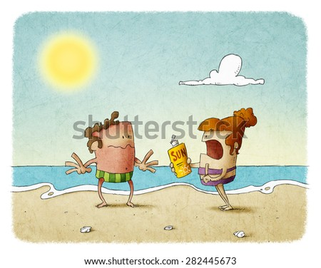 woman scolding man who has not used sunscreen - stock photo