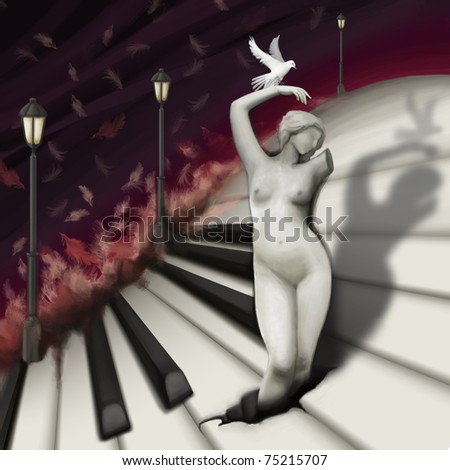 woman sculpture and bird in fantasy piano world, digital painting - stock photo