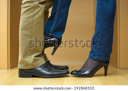woman seduces man - stock photo