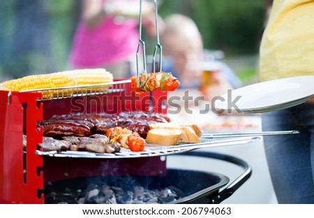 Woman serving delicious grilled skewers on garden party - stock photo