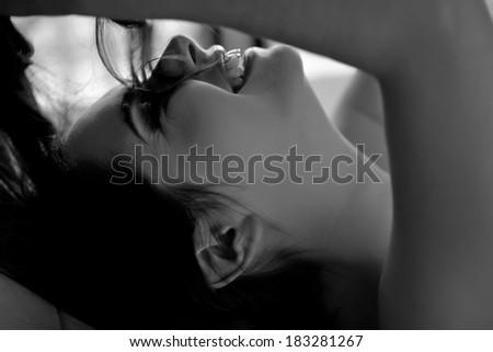 Woman sexy black white photo - stock photo