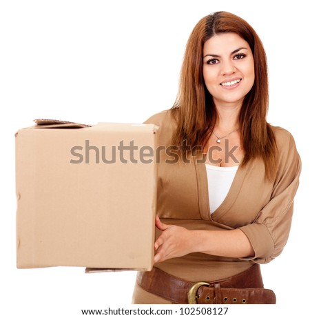 Woman shipping a box - isolated over a white background - stock photo