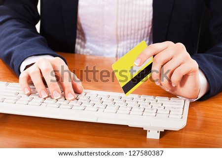 woman shopping over internet, - stock photo