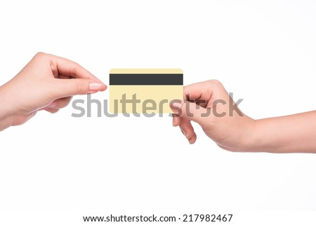 Woman shopping using credit card. close-up. Female hand giving credit card template - stock photo