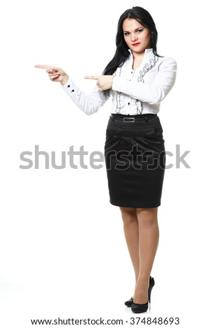 woman show demonstrate smiling modern business woman presenting something pointing with finger isolated on white - stock photo