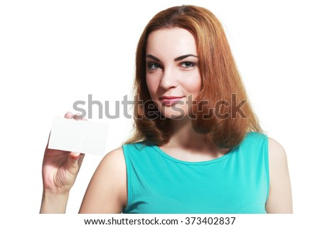 Woman showing blank sign smiling happy, Young casual professional with glasses showing empty card sign - stock photo