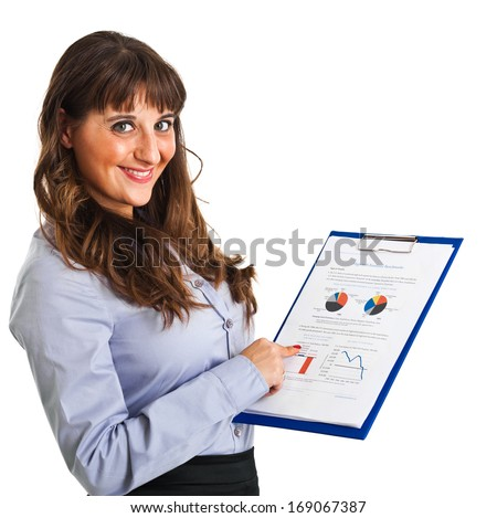 Woman showing financial graphs - stock photo