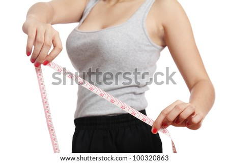 Woman showing sexy body measurement. - stock photo