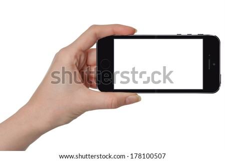 Woman showing smart phone in iphon style with isolated screen, isolated on white - stock photo