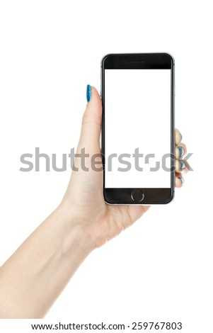 Woman showing smart phone in iphone style with isolated screen, isolated on white - stock photo