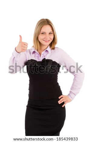 Woman showing thumb up - stock photo