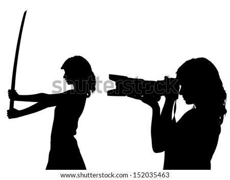 woman silhouette with camera and sword - stock photo