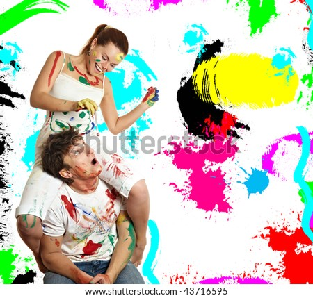 woman sitting on man - stock photo