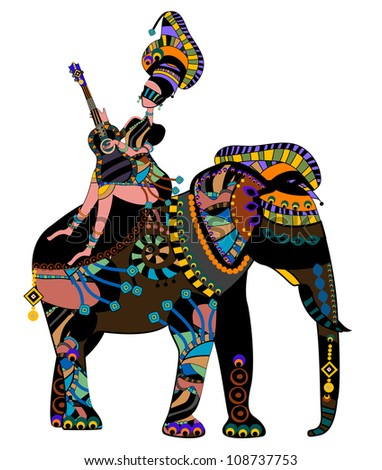 woman sitting on the back of an elephant in ethnic style - stock photo