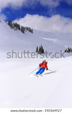 Woman skiing in the Utah mountains, USA. - stock photo